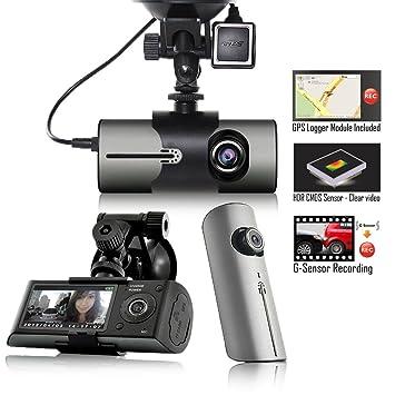 Indigi XR300 Dash Cam + 2,7 pulgadas HD LCD + Dual lente (180 grados cobertura) + GPS Google Maps Tracker: Amazon.es: Electrónica