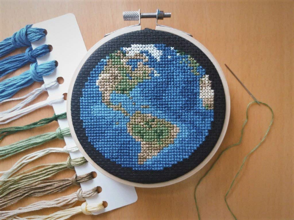 Planet Earth Cross Stitch Kit With Hoop - Americas View Globe Needlework Kit