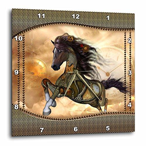 3dRose Heike Köhnen Design Steampunk – Steampunk, Wonderful Steampunk Horse, Golden Design – Wall Clocks
