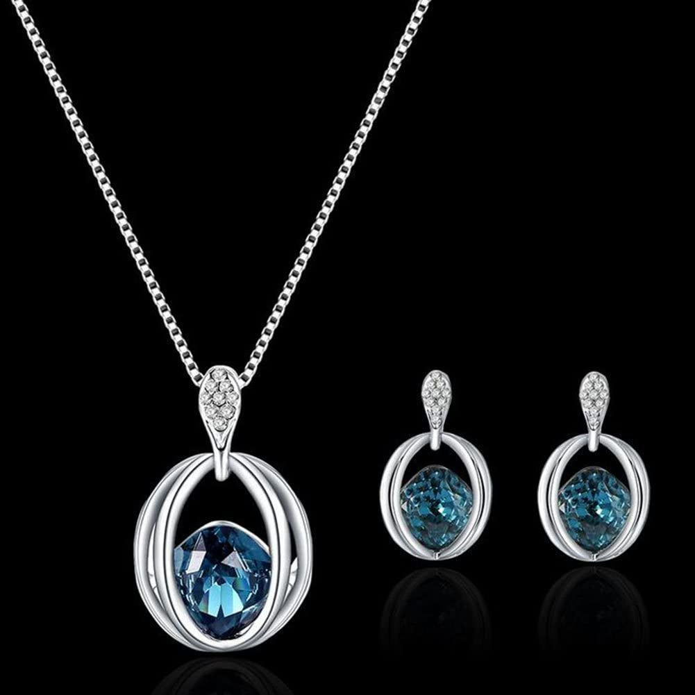Moligh doll Necklace Earrings Crystal Elegant Women Jewellery Set of Crystal Pendant Necklace+Earrings
