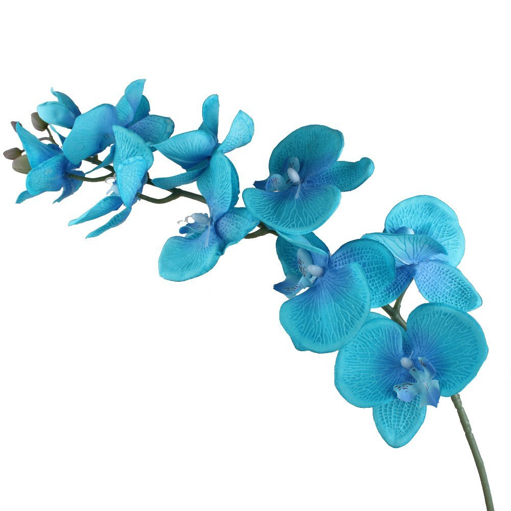 Ourwarm 1 Silk Artificial Flowers Aqua Blue Phalaenopsis Orchid