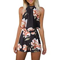 e1eb3dcd0b ... Women s Floral Printed Summer Dress Romper Boho Playsuit Jumpsuits  Beach 2 Piece Outfits Top with Shorts