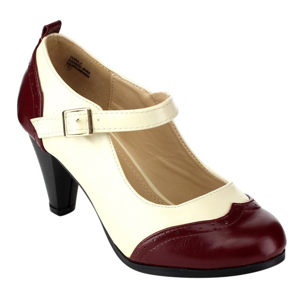 1950s Style Shoes Chase & Chloe Dora-2 Womens Round Toe Two Tone Mary Jane Pumps $32.99 AT vintagedancer.com