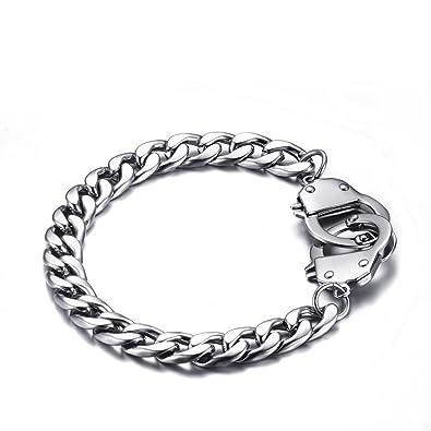 af051041bcb HOUSWEETY Bracelet Chaine Maille Figaro avec Fermoir Menottes en Acier  Inoxydable pour Homme