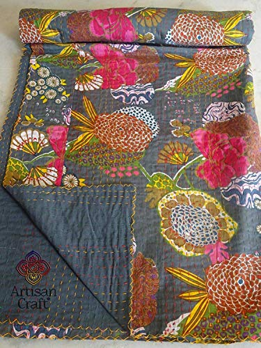 2x Gray Fruit ( Tropical ) Print KING Size Kantha Quilt, AC QUILT, RALI KANTHA QUILT ( GUDRI ), KING Kantha bedspread,Bohemian Bedding Kantha Size 108