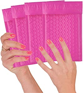 25 Pack Pink Poly Bubble mailers 4 x 7. Padded Envelopes 4x7 Hot Pink Cushion Envelopes. Peel and Seal. Self-Sealing Laminated Shipping Bags for Mailing, Packing. Packaging in Bulk, Wholesale Price.