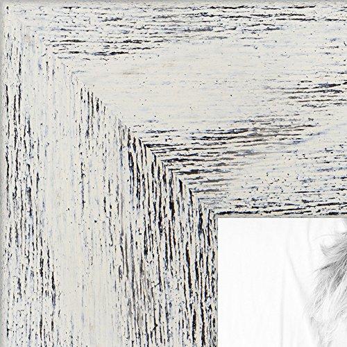 ArtToFrames 8.5x11 inch Eggshell Rustic Barnwood Wood Picture Frame, WOM0066-83235-YWHT-8.5x11