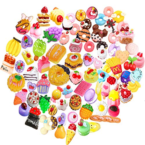 - 20 pcs Mix Lot 3D Slime Charm Slices Dessert Cake Ice Cream Bread Donut Cookie Candy Resin Flatback Bead Button for DIY Scrapbooking Embellishment, Phonecase Hair Clip Jewelry Craft Accessory