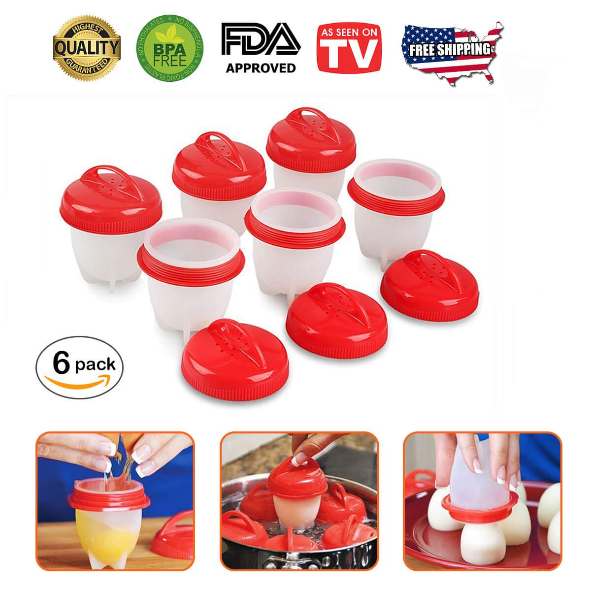 Egg Cooker Egg Poacher - As Seen On TV Hard Boiled Eggs Without The Shell! Hard Boiled Egg Maker, Egg Boiler, Silicone Egg Cooker (6 Piece Set) Nomlette by JGD