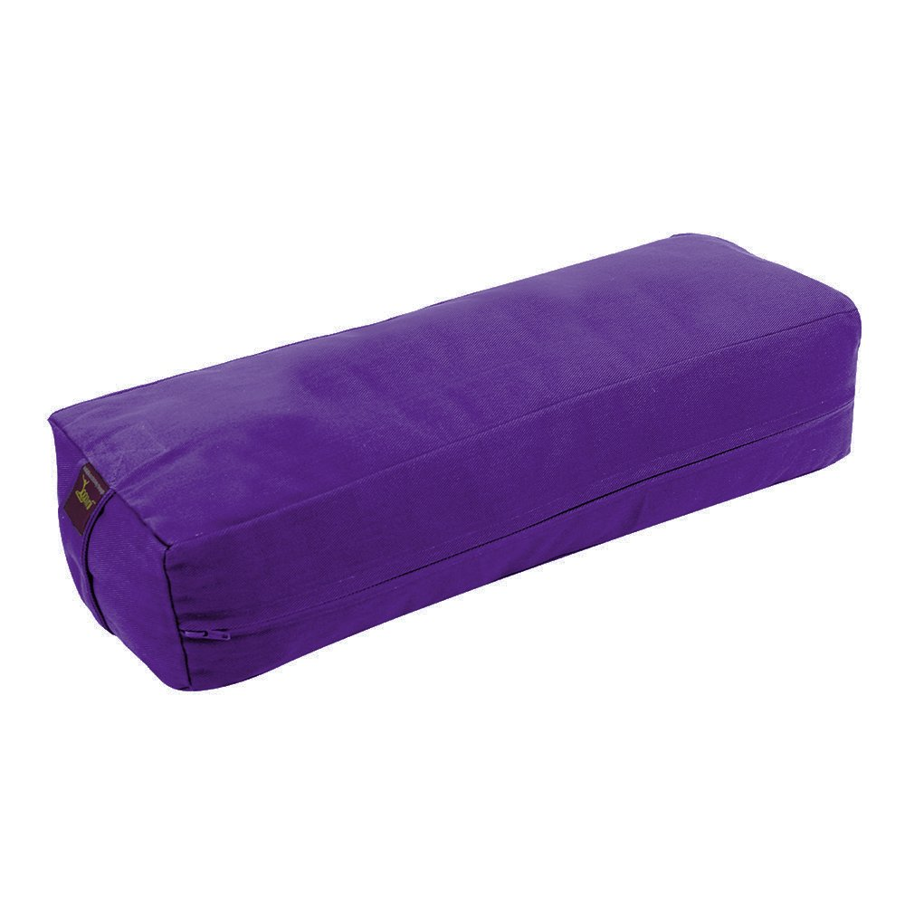YogavniTM Rectangular Yoga Bolster - Removable Canvas Cover, Natural Cotton Filling by Yogavni(TM) (Purple, Small)