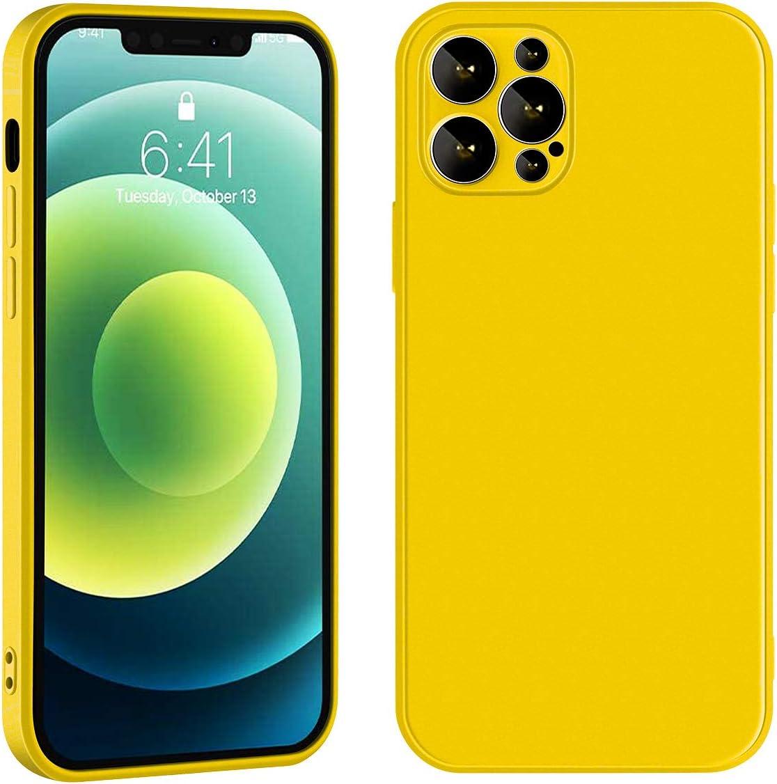 Manducary Liquid Silicone Case Compatible with iPhone 12/Mini/Pro/Max (2020), Gel Rubber Full Body Protection Cover Case Drop Protection Case (Yellow,iPhone 12 pro max)