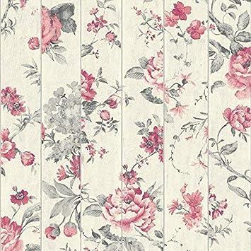 Muriva floral rose motif fleur papier peint faux bois poutre effet textur/é Rouge L13610