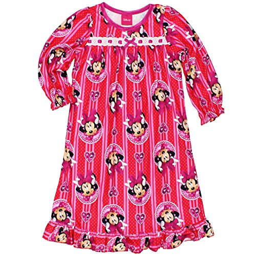 [Minnie Mouse Little Girls Flannel Granny Gown Nightgown (6, Jewel Red/Pink)] (Mickey Dress)