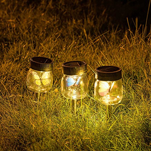 Genideer [3 pack] Solar Decorative Lights Outdoor Solar Garden Stake Lights Jar lights Butterfly LED Warm Light Solar-powered Garden Lights Lawn Lights Patio Lights Yard Lights by Genideer