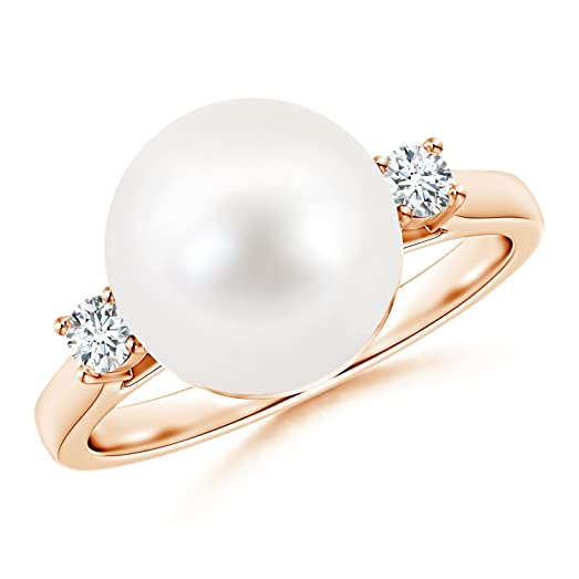 Angara Freshwater Cultured Pearl and Diamond Bypass Ring a7xAD