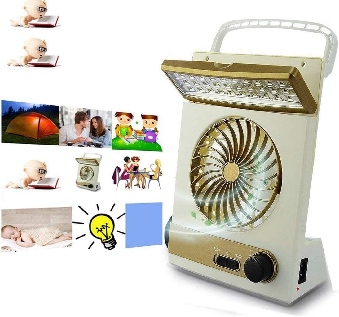 YUYUDS LED Bulbs Solar Mini Fan Portable Fan LED Table Lamp 3 in 1 Multi-Function Eye-Care Flashlight Light for Home Camping Solar Cooling Fans (Color : Gold)