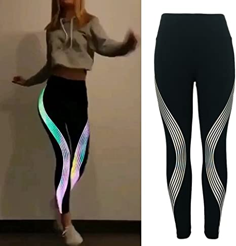 Womens 3 or 4 Pack Reflective Stripe Athletic Running Workout Shorts Activewear-Slim Fitted Solid Color