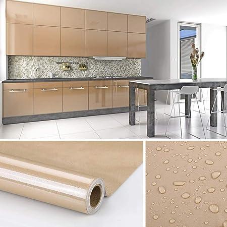 KINLO Adesivi Carta per mobili 0.6M*5M(1 Rotolo) Marrone Nessuna Colla PVC  Impermeabile Adesivi mobili rinnovato mobili da Cucina Autoadesivo Wall ...