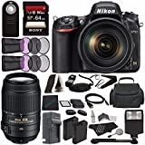 Nikon D750 DSLR Camera with 24-120mm Lens + Nikon AF-S DX NIKKOR 55-300mm f/4.5-5.6G ED VR Lens + Rechargable Battery + Charger + Sony 64GB SDXC Card + HDMI Cable + Remote + Cloth + Flash Bundle