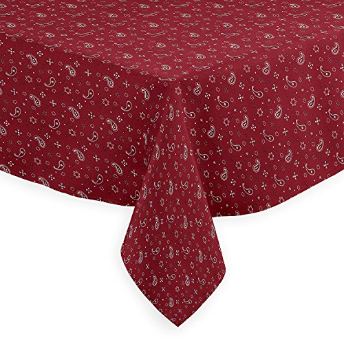 A LuxeHome Red and White Bandana Country Western 4th of July Patriotic Paisley Print Tablecloths Dining Room Square 60'' x 60'' by A LuxeHome (Image #1)