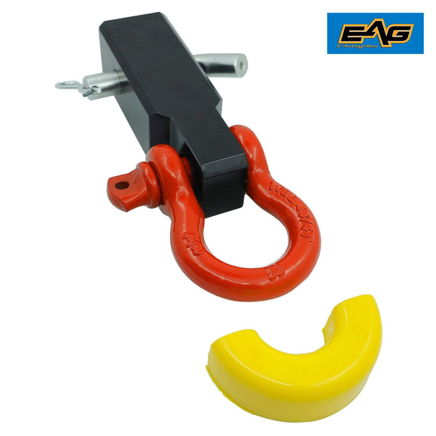 EAG Universal 2 Hitch Reciever D-Ring Shackle with Yellow Isolator
