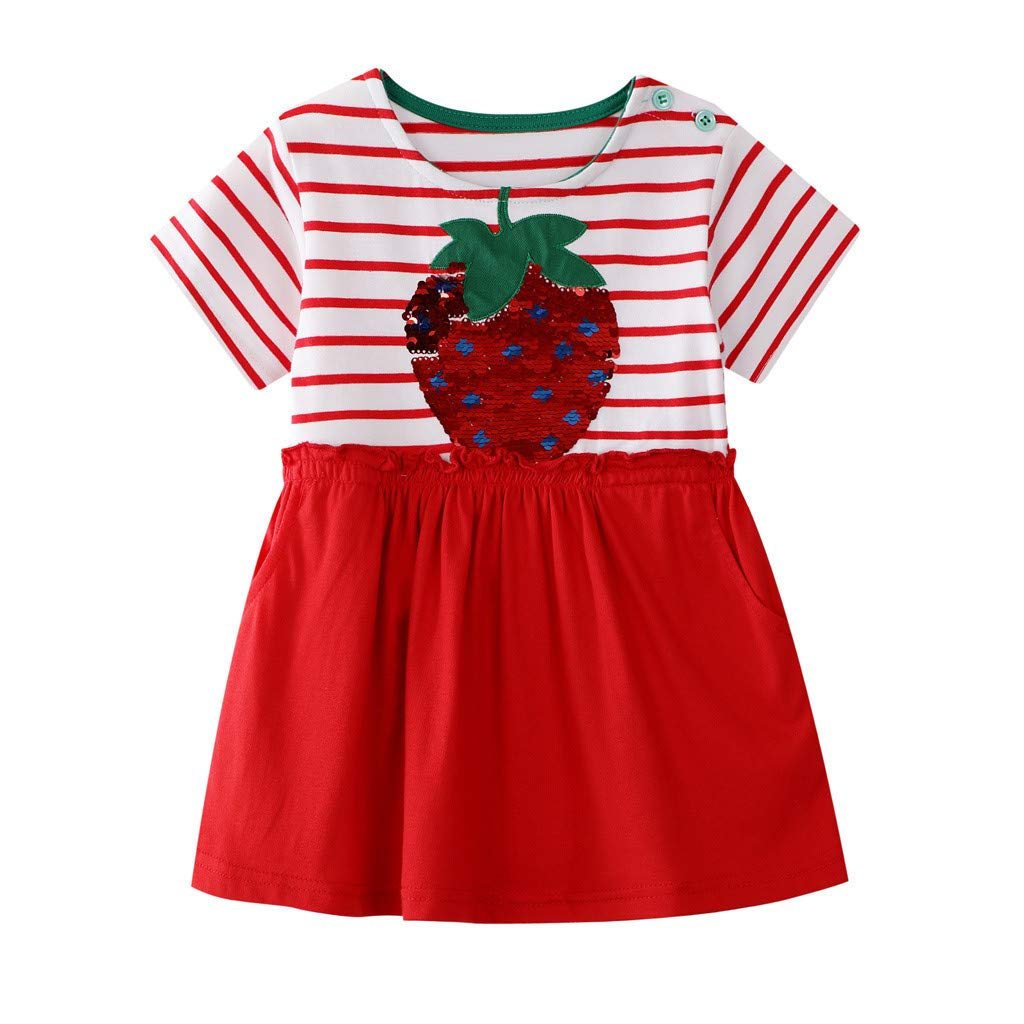 Toddler Summer Dress Yellow,Toddler Kid Baby Girl Striped Floral Bling Printed Casual Dress Clothes,Girls' Clothing,Navy,18-24M