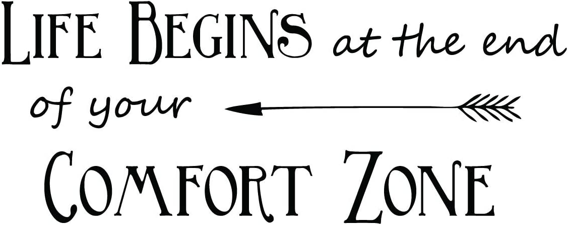 Inspirational Vinyl Wall Decal Quote - Life Begins at The End of Your Comfort Zone - Decoration for Home, Office or Classroom Decor