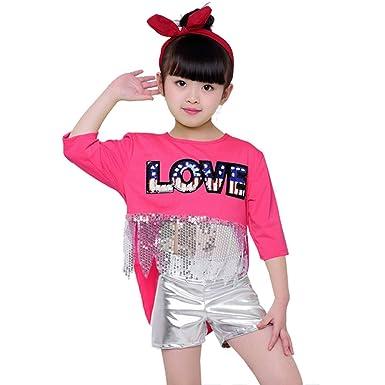 cec01b366 Amazon.com: 2pcs Kids Girls Sequins Jazz Hip Hop Dance Costume Street Dance  Sets with Top Pants: Clothing