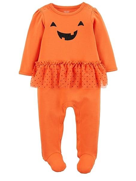 carters infant girls orange pumpkin tutu sleeper halloween sleep n play 3m