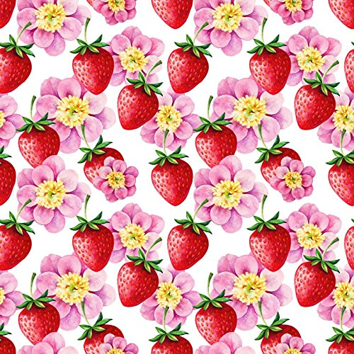 (Laeacco Strawberry Backdrops 8x8ft Vinyl Studio Backdrop Customized Photography Background Hand Drawn Watercolor Seamless Pattern Wallpaper Delicious Natural Fruit Floral Children Decoration)