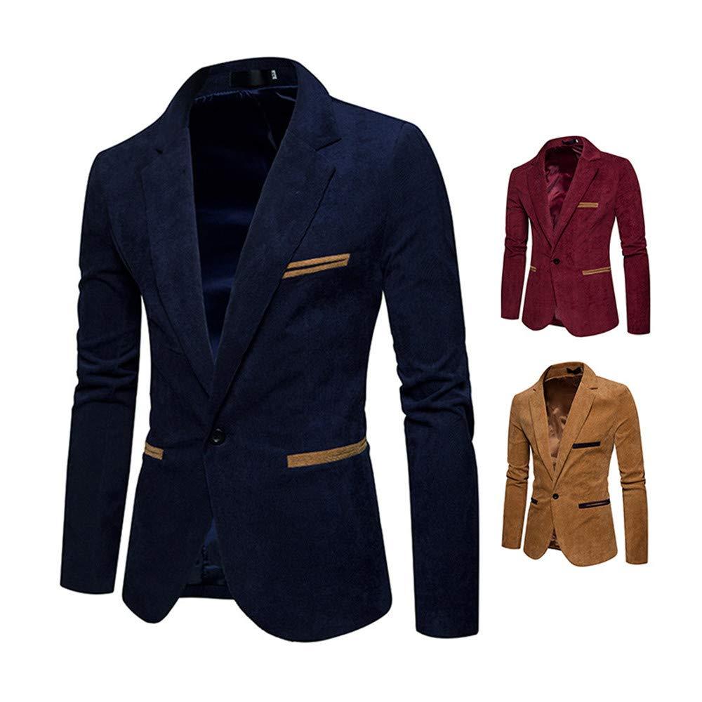 ZEFOTIM Mens Autumn Winter Casual Corduroy Slim Long Sleeve Coat Suit Jacket Blazer Top