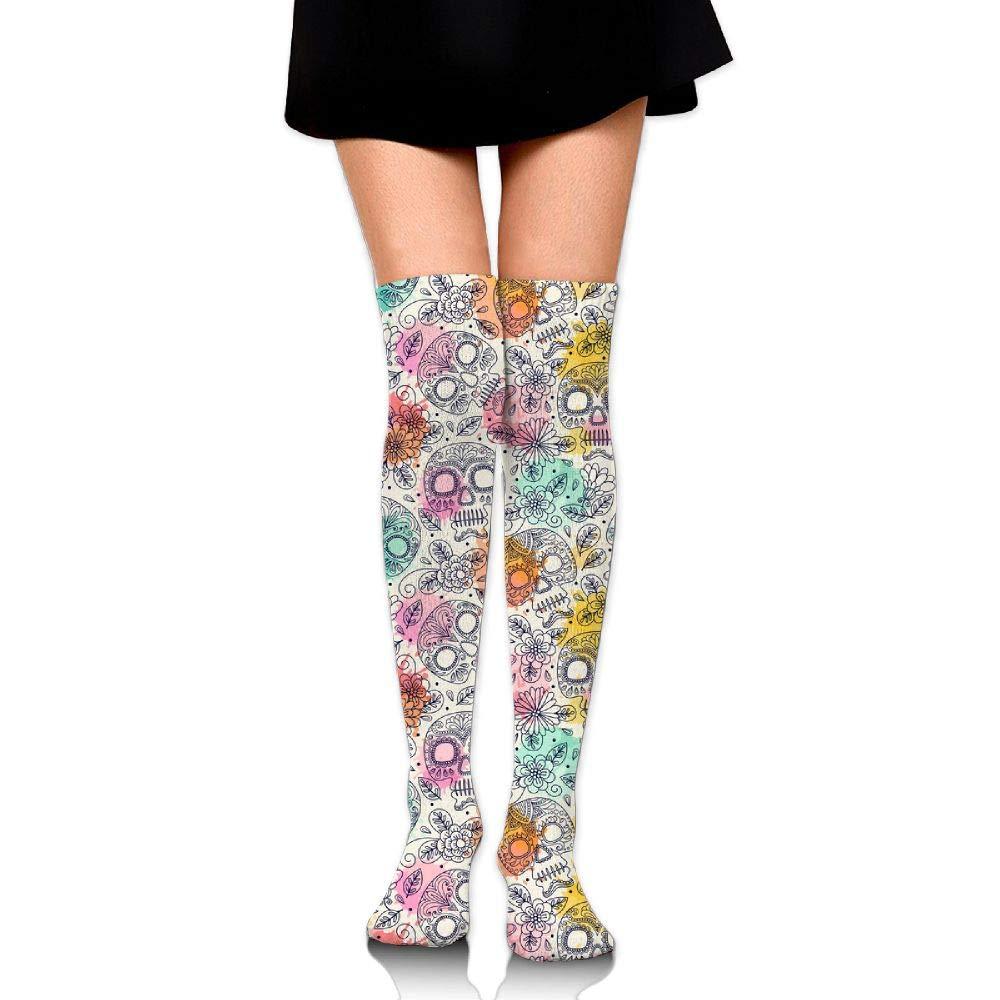 Womens//Girls Skull And Flower Casual Socks Yoga Socks Over The Knee High Socks 23.6