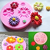 SPHTOEO 2PCS Silicone Sunflower Mold Cake Decorating Chocolate Sugar Craft Mould