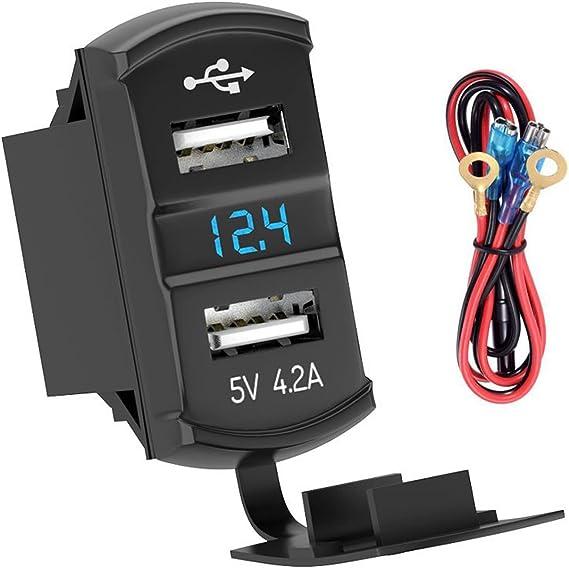 Motorcycle  4.2A Dual USB Charger Blue LED Digital Display Voltmeter Waterproof