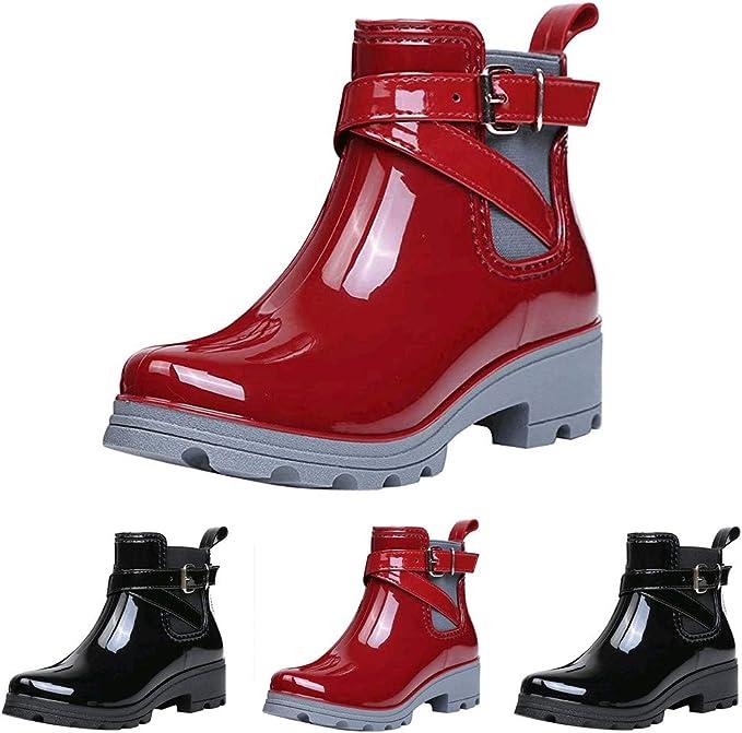 Futurelove Womens Rain Footwear Fashion Short Boots Rain Boots Non-Slip Shoes Elastic Band Water Shoes Garden Shoes Waterproof Booties for Women