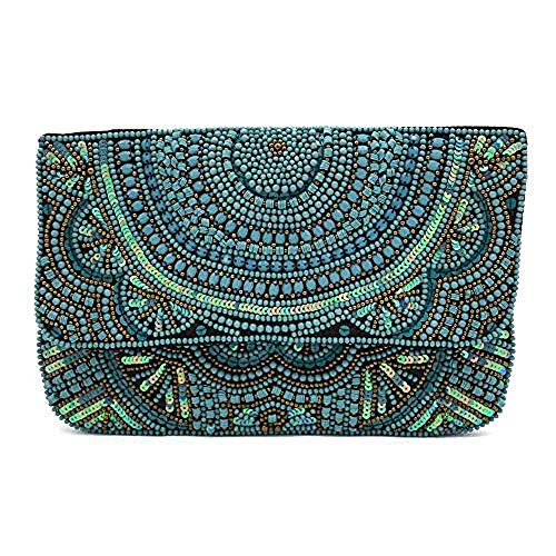 Turquoise Beaded Evening Clutch Bag