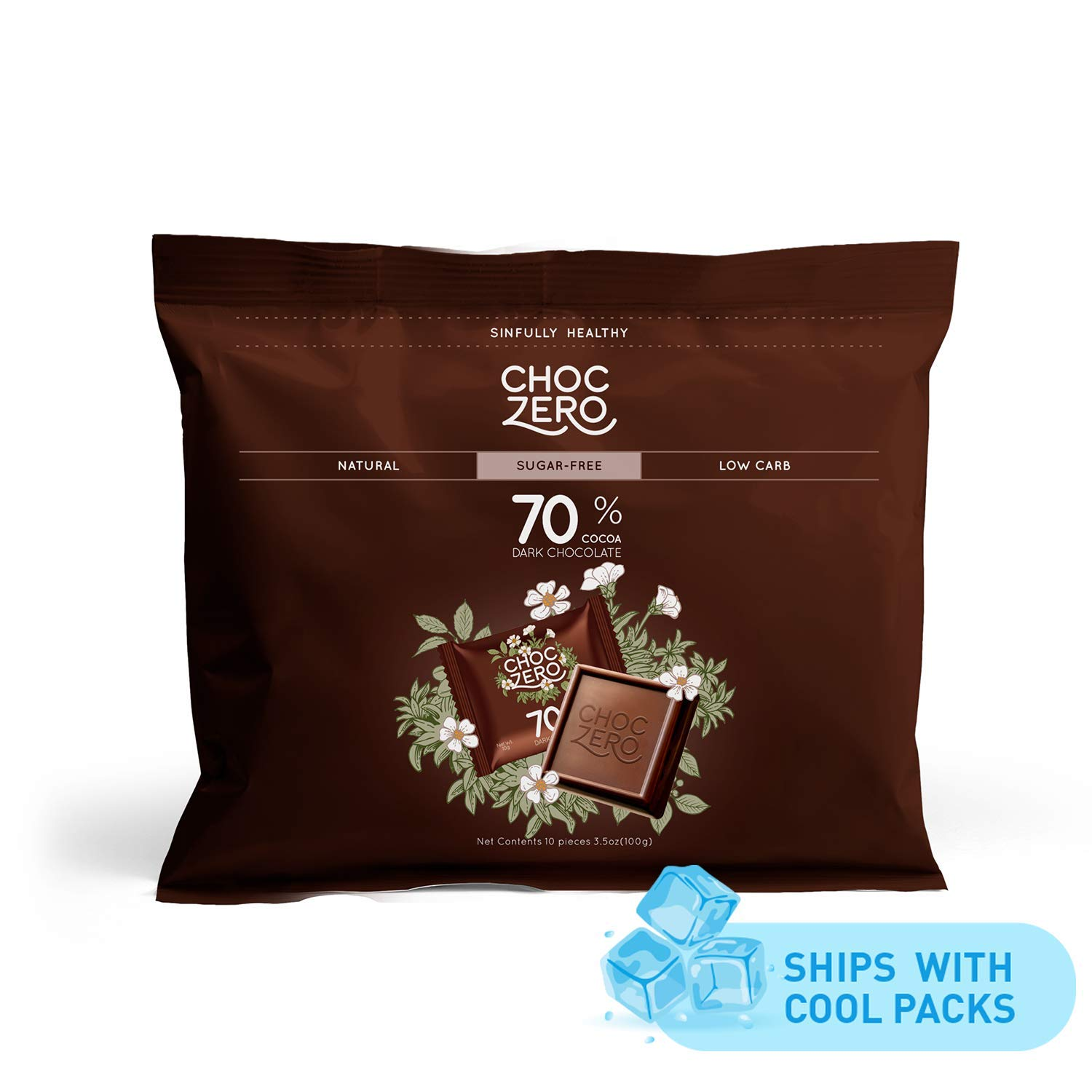 ChocZero 70% Dark Chocolate, Sugar free, Low Carb. No Sugar Alcohol, No Artificial Sweetener, All Natural, Non-GMO - (6 Bags, 60 pieces)