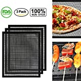 accmor BBQ Grill Mesh Mat with Side, Set of 3 Non-Stick Teflon Cooking Grilling Sheet Liner Fish Vegetable Smoker Grill Mats - Works on Gas, Charcoal, Electric Barbecue 15.75x13inch