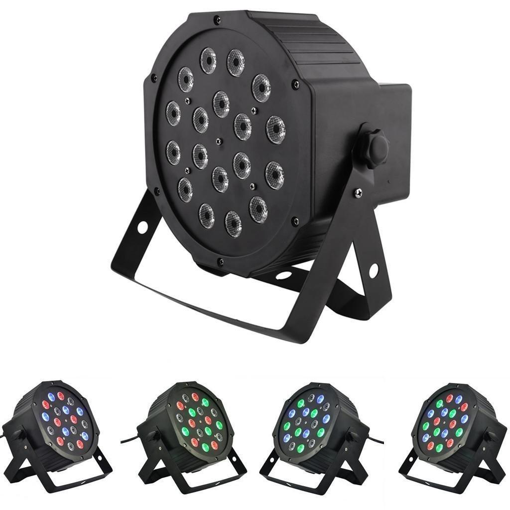 Amzdeal DMX-512 18 x 1W LED RGB Faro Strobo Par Led Faro da Palco Multicolore, per KTV, Discoteca, Bar, DJ, Club, Festa