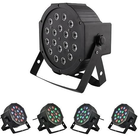 Amzdeal DMX-512. Foco estroboscópico RGB de 18 LED (cada diodo LED