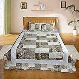 DECORAPORT Artistic Style 3-Piece Quilt Set, Queen DK-WX (Leopard Print Patchwork DK-WX018)