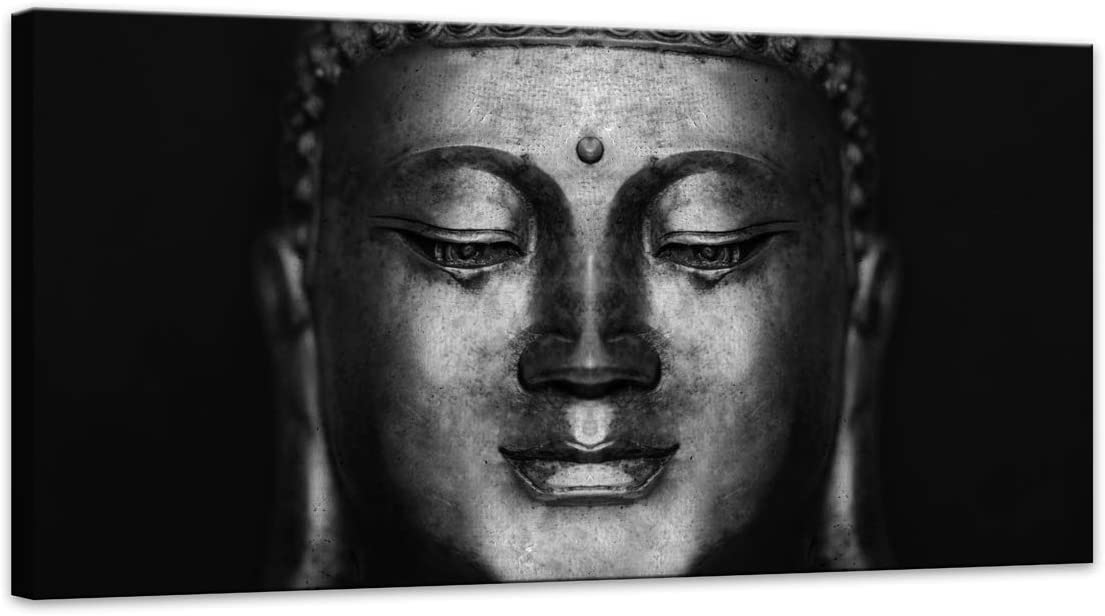 Canvas Wall Art Black and White Abstract Buddha Head Paintings Pictures Artwork for Decor/Home Decoration Size:20x40inch 1pcs/Set