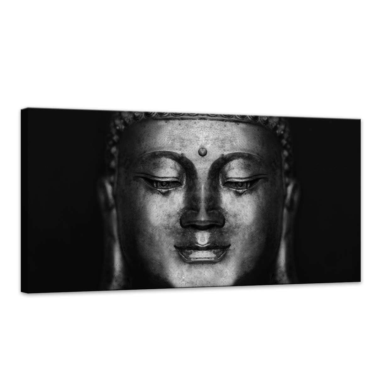 Amazon com canvas wall art black and white abstract buddha head paintings pictures artwork for decor home decoration size20x40inch 1pcs set posters