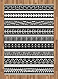 Boho Area Rug by Ambesonne, Tribal Ethnic Borders Native American Aztec Ancient Geometric Folkloric Figures, Flat Woven Accent Rug for Living Room Bedroom Dining Room, 5.2 x 7.5 FT, Black and White