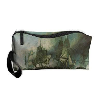 WEEDKEYCAT Ship Of Pirate Painting Travel Cosmetic Bag Pen Pencil Portable Toiletry Brush Storage,Multi-function Accessories Sewing Kit Bags Pouch Makeup Carry Case With Zipper