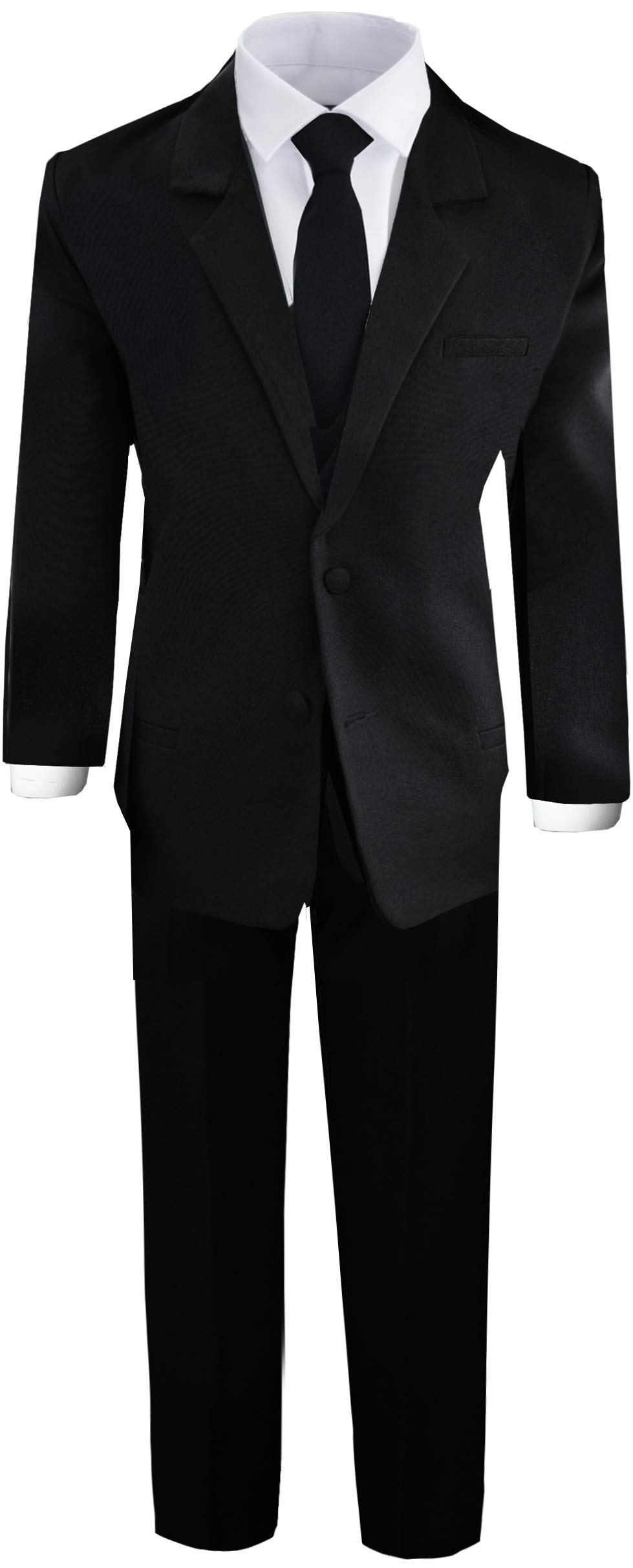 Boys Black Tuxedo Suit with Tie Young Boys Youth Size 8 by Black n Bianco