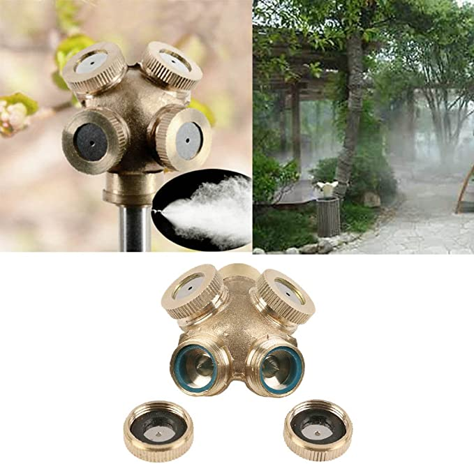 Spray Misting Nozzle Head Garden Sprinkler Fitting Two Heads Water Connector