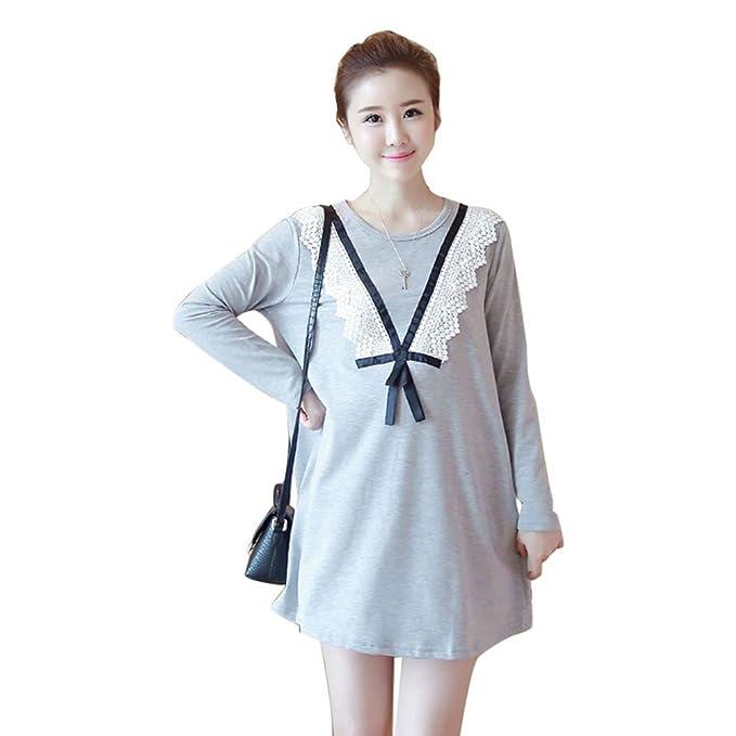 HZFF Vestido de maternidad, edición de primavera y otoño, grasa MM tide mom, camiseta de gran tamaño, larga vestimenta de las mujeres embarazadas: ...