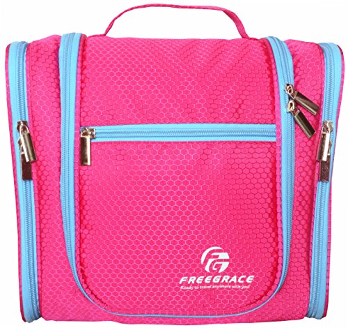 Premium Toiletry Bag By Freegrace - Large Travel Essentials Organizer - Durable Hanging Hook - For Men & Women - Perfect For Accessories, Cosmetics, Personal Items, Shampoo (Pink)