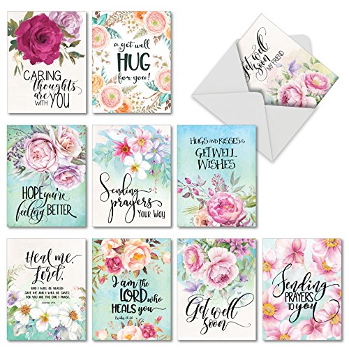 10 Assorted 'Get Well Florals' Note Cards with Envelopes 4 x 5.12 inch, Greeting Cards with Touching Messages of Concern and Beautiful Watercolor Flowers, Get Well Stationery - Breast Calendar Cancer Print